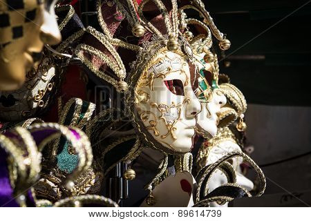 Typical Colorful Masks From The Venice Carnival