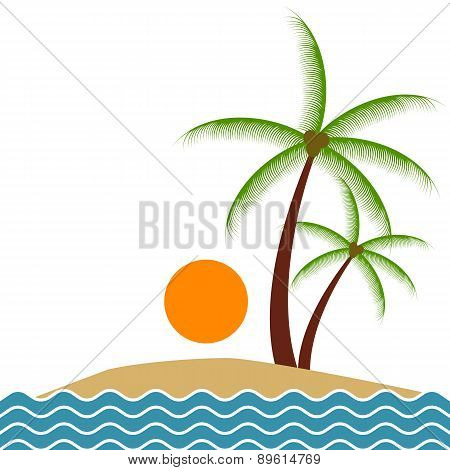 Summer beach and palm trees