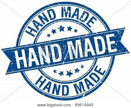 Hand Made Grunge Retro Blue Isolated Ribbon Stamp