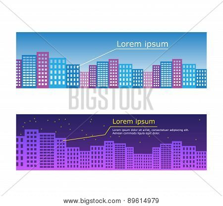 Vector city illustration in flat simple style - houses and buildings on horizontal banners - website