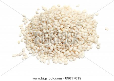 White rice on white background.