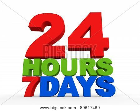 24 hours 7 days 3d text