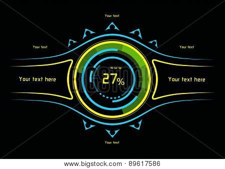 Blue And Yellow Infographics As Head-up Display