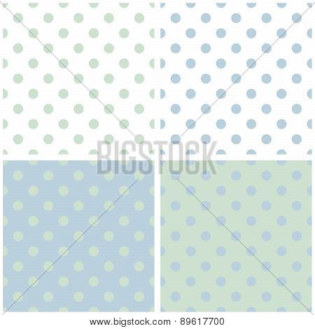 Tile vector pattern set with polka dots on grey, green, white and blue background