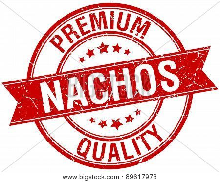 Nachos Grunge Retro Red Isolated Ribbon Stamp