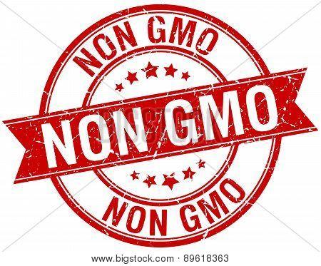 Non Gmo Grunge Retro Red Isolated Ribbon Stamp