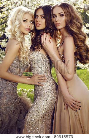 Beautiful Charming Girls In Luxurious Sequin Dresses