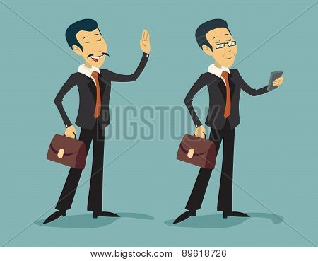 Asian China Businessman Characters Young and Old with Briefcase Icon on Stylish Background Retro Car