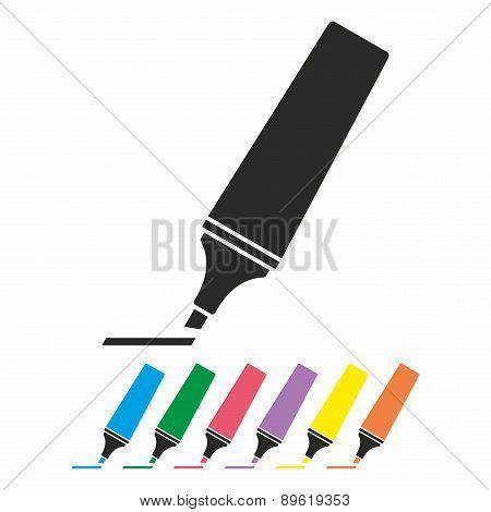 Highlighter pen icon set