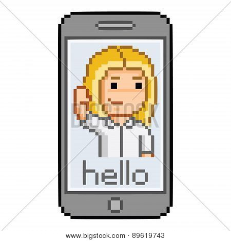 Pixel smartphone, hello message and girl