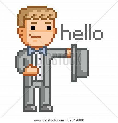 Pixel man in a suit says hello