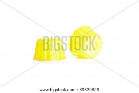 Empty Yellow Plastic Pudding Bowl