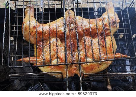 the chicken is fried on the BBQ