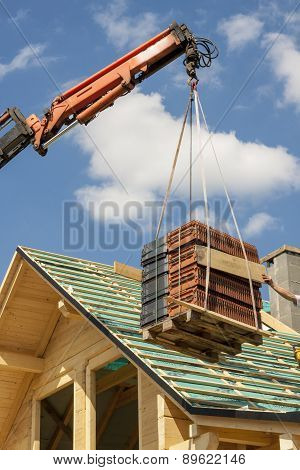 Roof Tile Transport On The Roof