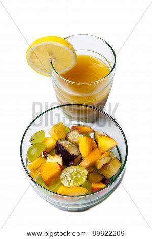 Fruit Salad And Orange Juice Isolated On White Background.