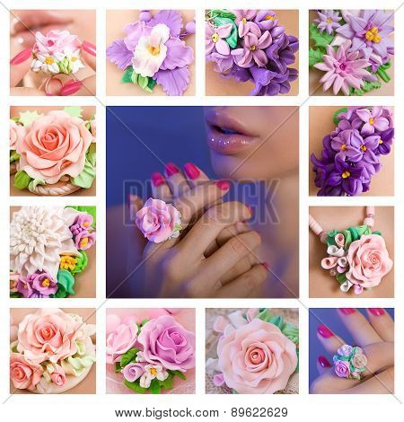 Collage Of A Polymer Clay Jewelery: Romantic Style, Spring Floral Jewelery