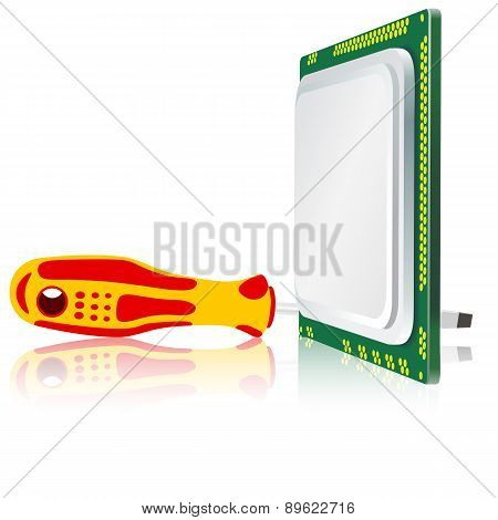 screwdriver and computer processor on a white background