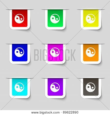 Ying Yang Icon Sign. Set Of Multicolored Modern Labels For Your Design. Vector