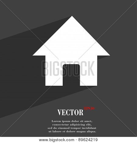 Home, Main Page Icon Symbol Flat Modern Web Design With Long Shadow And Space For Your Text. Vector