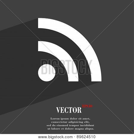 Wifi, Wi-fi, Wireless Network Icon Symbol Flat Modern Web Design With Long Shadow And Space For Your