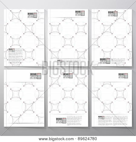 Dotted repeating modern stylish geometric background with circles and nodes. Simple abstract monochr