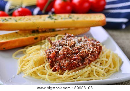 Spaghetti Bolognese With Garlic Bread Baguettes.