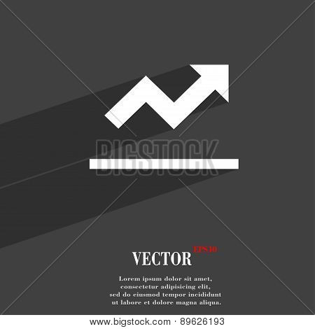 Graph Chart, Diagram Icon Symbol Flat Modern Web Design With Long Shadow And Space For Your Text. Ve