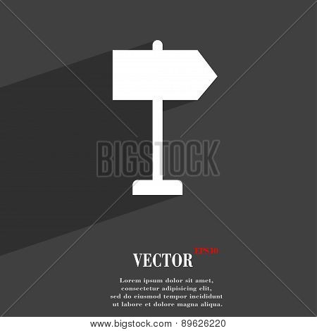Signpost Icon Symbol Flat Modern Web Design With Long Shadow And Space For Your Text. Vector