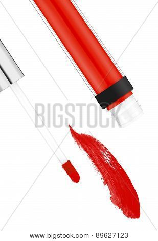 Red Lipgloss Isolated On White