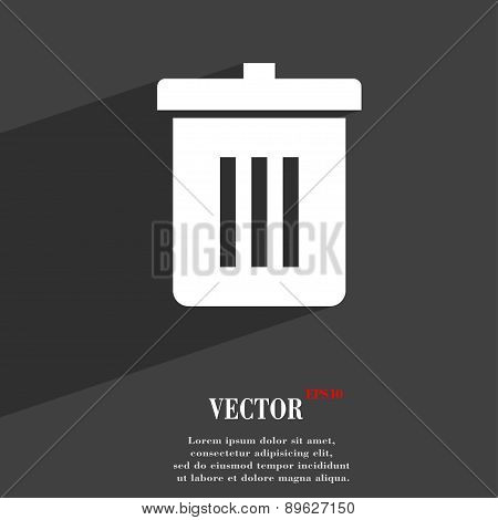 Recycle Bin, Reuse Or Reduce Icon Symbol Flat Modern Web Design With Long Shadow And Space For Your