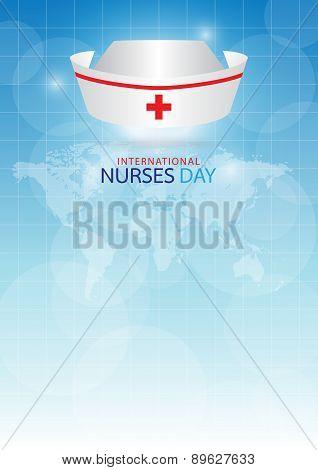 Nurse Cap On Blue Background.