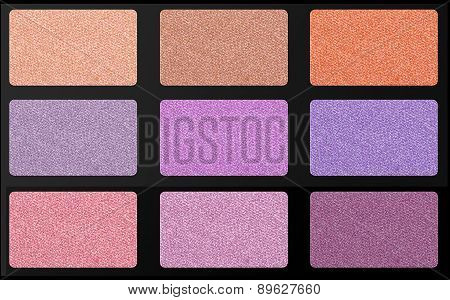Set Of Pastel Eyeshadows Isolated On White Background