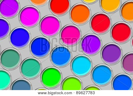 Paint Cans Color Palette, Cans Opened Top View Over Grey Background