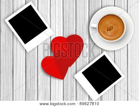 White Cup Of Coffee, Red Hearts And Photo On Wooden Background