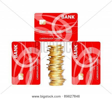 Credit Cards And Golden Coins Isolated On White