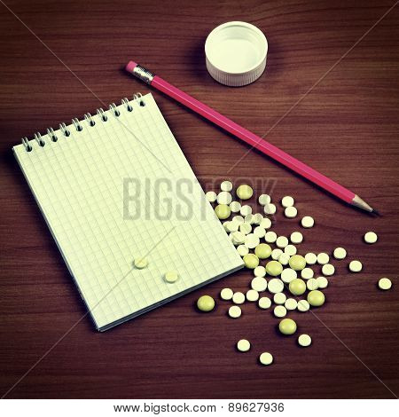 Writing Pad And The Pills