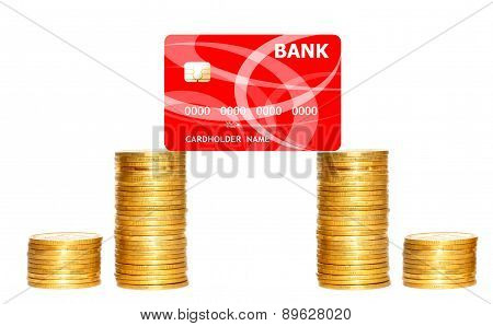 Columns Of Gold Coins And Red Credit Card Isolated On White Background