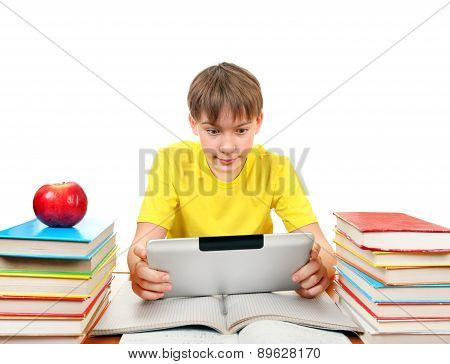 Schoolboy With Tablet Computer