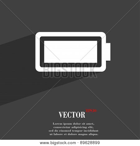 Battery Fully Charged Icon Symbol Flat Modern Web Design With Long Shadow And Space For Your Text. V