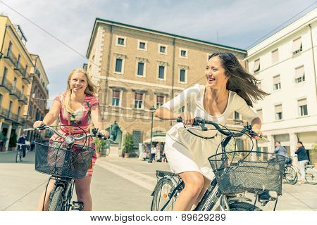 Happy Couple Riding Bicycles Outdoors