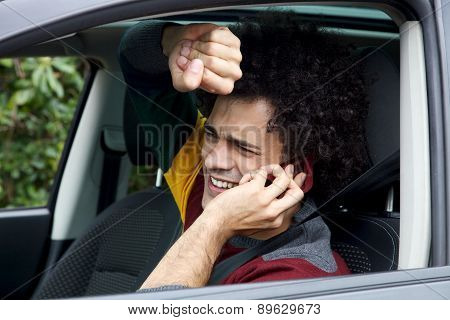 Man Getting Into Accident With Car Talking On The Phone