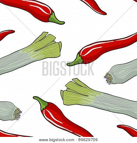 Seamless vegetable pattern leek and red pepper