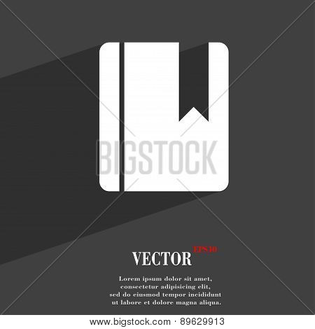 Book Bookmark Icon Symbol Flat Modern Web Design With Long Shadow And Space For Your Text. Vector