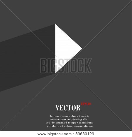 Play Button Icon Symbol Flat Modern Web Design With Long Shadow And Space For Your Text. Vector