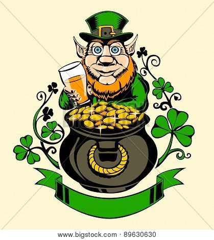 Leprechaun is standing next to a pot of gold.