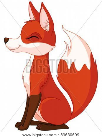 Illustration of a very cute red fox
