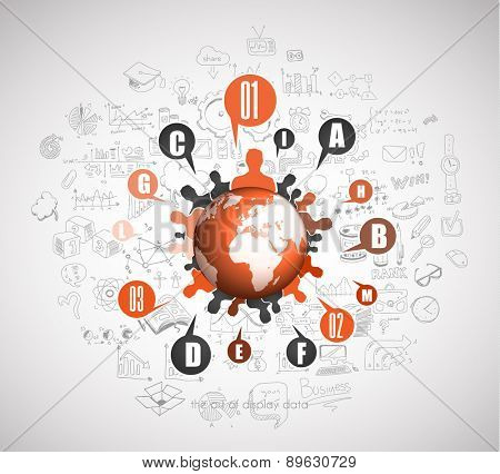 Flat Style Concept for Social Media, Agenda organization and digital marketing fusiness oriented.