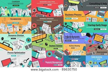 MEGA PACK of Flat Style Design Concepts for business strategy and career.