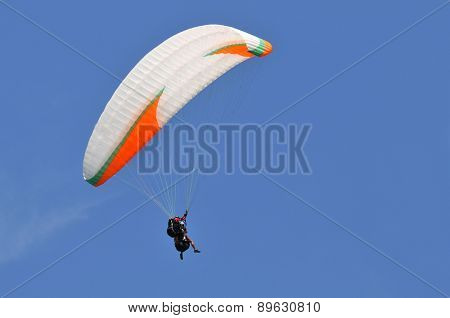 Parachute flying over a blue sky