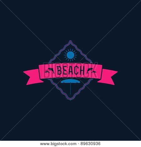 Retro Summer Vintage Label On Dark Background. Tropical Paradise, Beach Vacation, Adventure And Trav